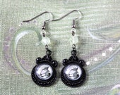 Skeletons and Prehnite Cabochon Earrings - Victorian Vintage Style Halloween Goth Witch