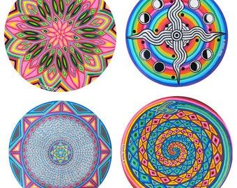 "Choose any 4 (large 6"" size) Cosmic Circles, Eco friendly, Light catcher, Sacred Geometry, Home decor, Mandala, Rainbow, Sticker Art"
