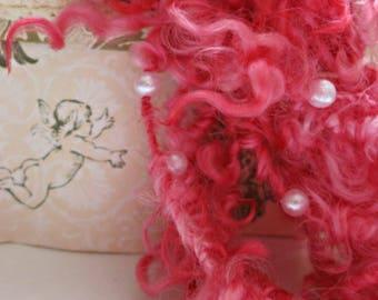 Handspun Art Yarn - Curly Art Yarn - OOAK Super Bulky Yarn - Pink Cotswold Wool - Pearl Yarn - Strawberries, Champagne and Pearls