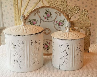 Shabby White Embossed Tin Canisters - Distressed, Storage Containers