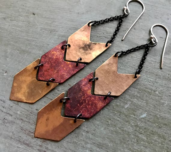 Brass and Copper Chevron Earrings - Triple