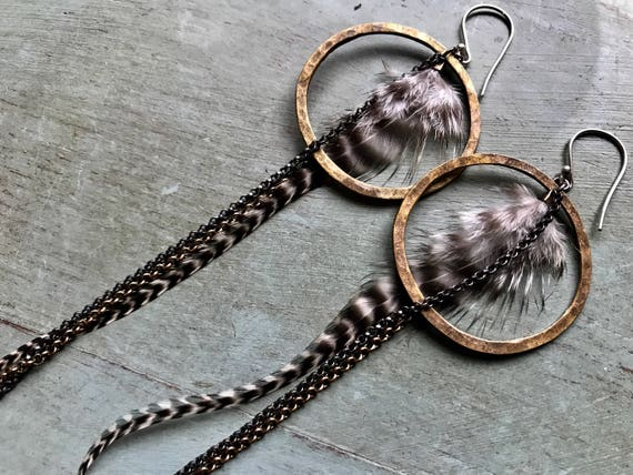 Brass Circles with Feathers and Chains