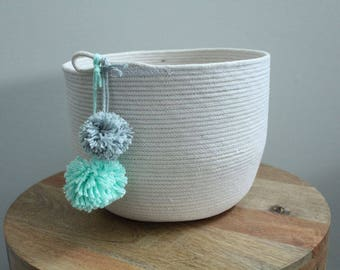 Basket rope coil bin storage organizer bowl pompoms natural mint grey by PETUNIAS