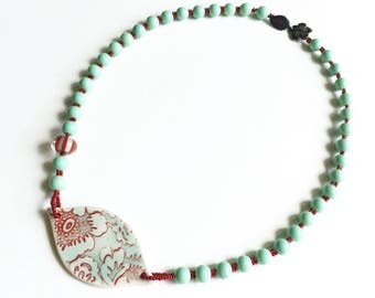 Aqua and Red Beaded Necklace with Porcelain Focal