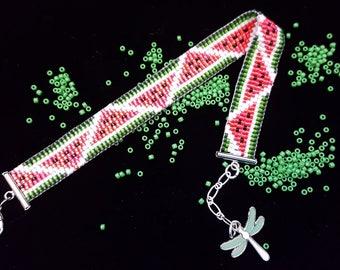 Juicy watermelon bead-woven bracelet