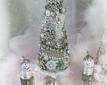 "Jeweled Christmas Tree, Vintage Rhinestone Jewelry Christmas Tree, ""Tree of Treasures"", Diamond Rhinestones, Holiday Decor"