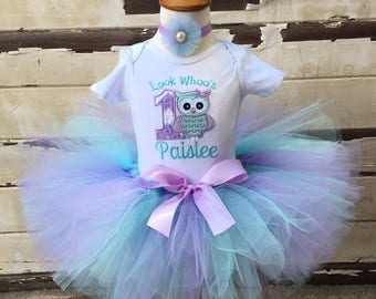 Look Whoo's 1 Birthday Tutu Outfit in Lavender & Aqua- Personalized Baby Girl- Owl Themed