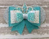 Elsa Glitter Bow ~ Disney Princess Minnie Ears Sparkle Hair Clip ~ Rhinestone Tiara Crown ~ Frozen Aqua Snowflake Birthday Party Barrette