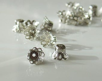 20% Off Sale 5mm x 6mm Bright Silver Filigree Bead Caps - 25 Pieces - LCE113