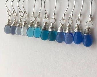 ON SALE Petite Blue Teardrop Earring Collection. Small Blue Drop Sterling Silver Earrings Set. 6 Pairs of Blue Silver Earrings. UK Seller