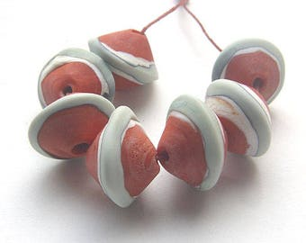 Calisto lampwork, handmade  - Coral & Copper and Ivory