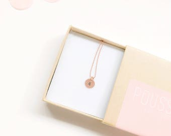 Rose gold personalised initial necklace - sterling silver core necklace - rose gold initial tag necklace