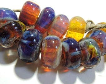 Handmade Lampwork Glass Borosilicate Beads DEEP AMBER Two Sisters Designs 070717zE