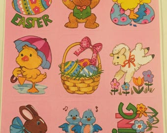 Easter Squares, 1970s, Vintage, American Greetings, Single Sticker Sheet, Scrap Booking, Sticker Collecting, Craft ~ SS002