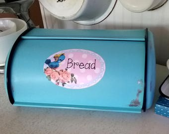 Turquoise Shabby Chic Vintage Bluebird Metal Bread Box, Cottage Kitchen Decor, Retro Breadbox, OOAK