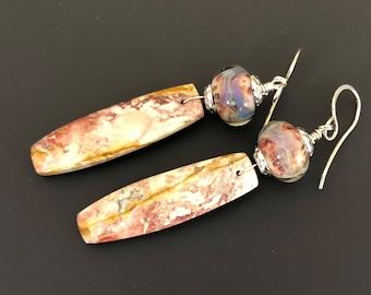 Birds Eye Jasper and Lampwork Glass Drop Earrings with Handmade Sterling Silver Earwires