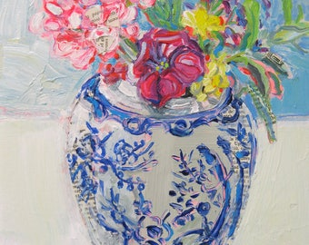 Flowers for Beatrice, original mixed media still life painting by Polly Jones