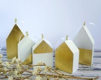 Gold leaf & white Christmas tree ornaments, 5 wood house tree decorations. Unusual, modern, minimalist tree decor. 4th anniversary.