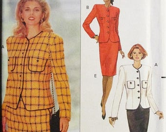 30% OFF SALE 1990s Sewing Pattern Butterick 5107 Misses Jacket & Skirt Pattern Size 12, 14, 16 Uncut