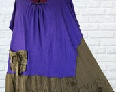 5X Color block Tunic Shirt Eco Friendly Plus Recycled Fashion Earthy Purple Brown Boho