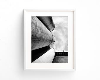 "black and white photography, industrial decor, large art, large wall art, fine art photography, photography print, clouds - ""Silos Trio"""