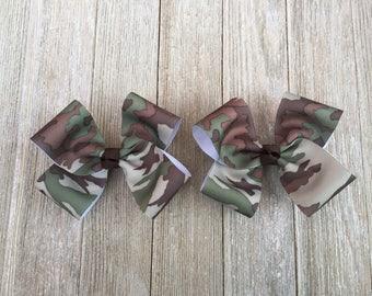 Hair Bows,Camo Hair Bows,Pigtail Hair Bows,4.5 Inch Wide Hair Bows,French Barrette Hair Bows,Camouflage Bows
