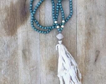 New Denim & Silk BoHo inspired Wood and Silk Sari Tassel Necklace