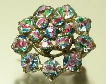 Vintage/ estate Art Deco 1940s, rainbow / iris glass paste/ rhinestone flower costume brooch pin - jewelry jewellery UK seller