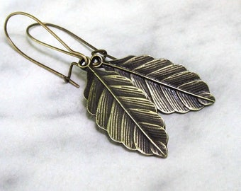 Bronze Bay Leaf Earrings, Antique Brass Earwires, Nature Inspired Woodland Jewelry - Handmade Hook or Long Kidney Wires