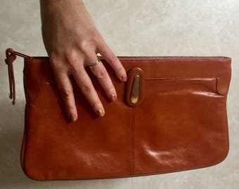 Terra Cotta color Faux Leather Large Clutch with Metal Hardware- 1970s