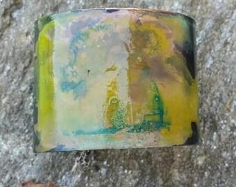 Acid painted copper cuff