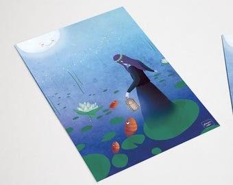 Fireflies - postcard featuring illustration