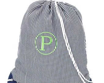 ON SALE Navy Pinstripe Gym Sling Bag
