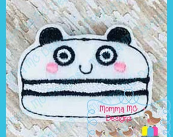 Panda Macaroon Feltie Machine Embroidery Digital File