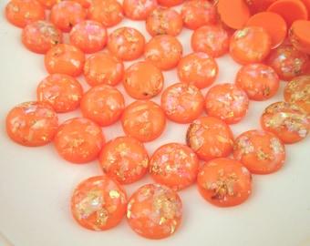 10 12mm Orange Resin Foil Cabochons, color cabs G228