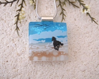 Petite Beach Horse Necklace, Dichroic Necklace, Equestrian, Dichroic Jewelry, Fused Glass Jewelry, Dichroic Pendant, ccvalenzo, 080817p101