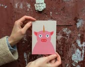 Unicorn pig postcard, 4.1''x5.8''