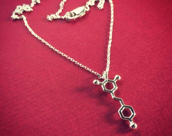 tiny resveratrol (red wine molecule) necklace in solid sterling silver