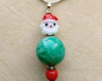 Red and Green Christmas Pendant . Lampwork Bead . Green Fat Santa . Green & Red Glass Beads - Christmas Holidays by enchantedbeads on Etsy