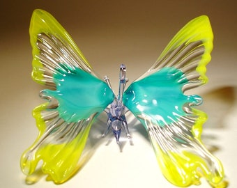Blown Glass Figurine Art Insect Yellow and Blue Hanging BUTTERFLY Ornament with a Hanging Hook
