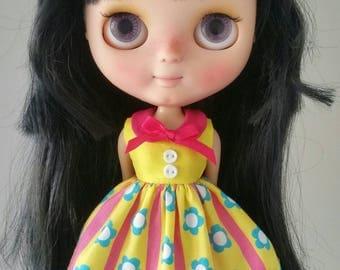 Bright flower stripes dress for Blythe and Pullip