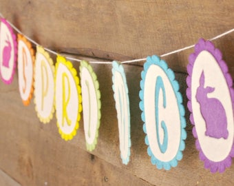 Easter Egg Bunting: Spring Garland, Waldorf Inspired All Natural (Hand Dyed Wool) Easter Decoration, Easter Bunny Banner