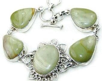 Sale: Green Oregon Jasper and Sterling Silver Bracelet