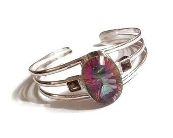 Mystic Quartz Sterling Silver Cuff Bracelet