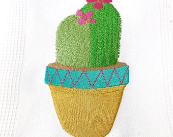 Succulent Cactus 2 Machine Embroidery File design 13x18 inch hoop - Makes a great Patch