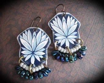 Tin Earrings. Lotus Earrings, Repurposed Tin Earrings, Tin Tray, Bohemian Dangle Earrings