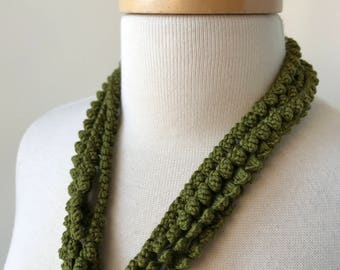 Multi Strand 100% Silk Textile Necklace in OLIVE GREEN, Fiber Art Jewelry, Statement Necklace, Natural, Unusual, Boho, Elegant, Unique