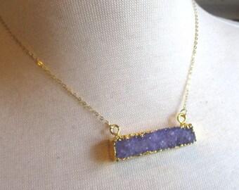 Purple Druzy Bar Gold Filled Necklace