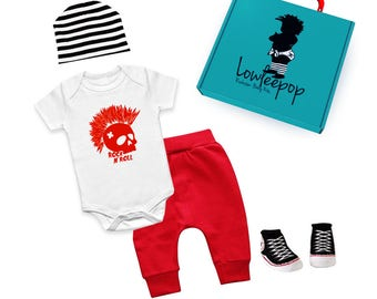 ROCKSTAR BABY KIT Red Mowhawk White onesie, red pants, striped hat, sneaker booties & optional gift box