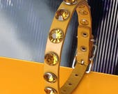 Mustard Leather Dog Collar with Big Amber Rhinestones, EcoFriendly, Size XS/S, to fit a 8-11 Neck, Little Dog Collar, Seattle Handmade